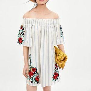 ZARA Off Shoulder Embroidered Dress